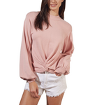 Rose Twist Front Long Sleeve Top