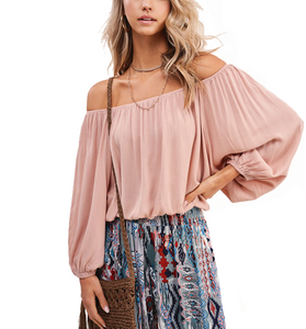 Blush Off Shoulder Top - Hudson Square Boutique LLC