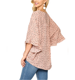 Blush Tie Front Ruffle Sleeve Top - Hudson Square Boutique