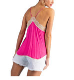 Lace Camisole Top in Hot Pink - Hudson Square Boutique