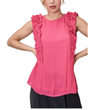 Lively Pink Ruffle Tank - Hudson Square Boutique LLC