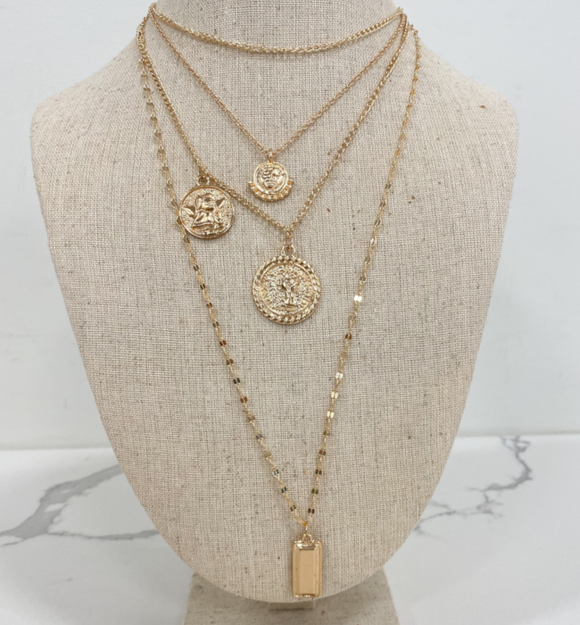 4 Layer Rose Gold Angel Necklace - Hudson Square Boutique LLC