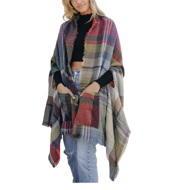 Multicolor Plaid Poncho
