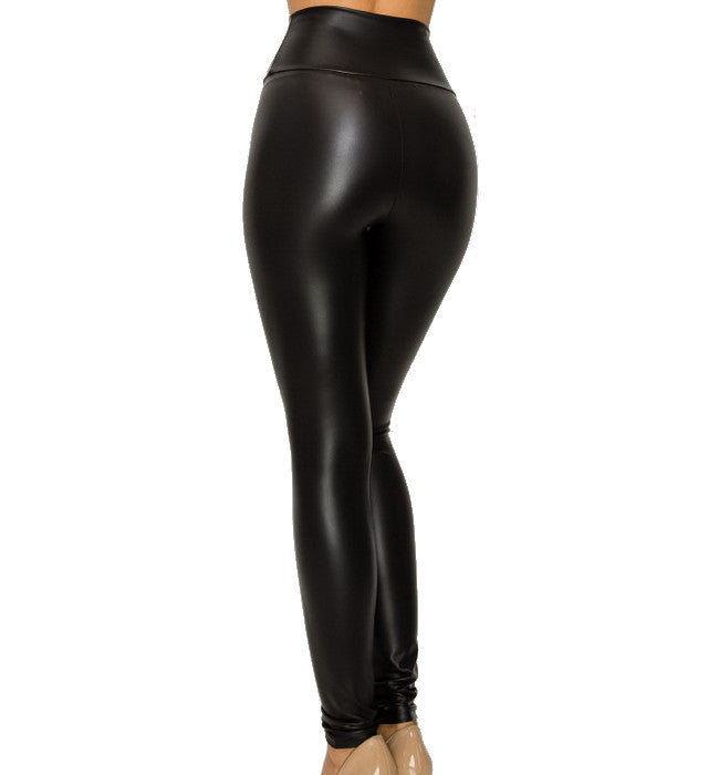 Vegan Leather Plus Size High Waisted Leggings
