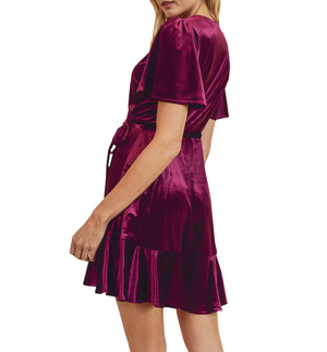 Plum Velvet Wrap Dress