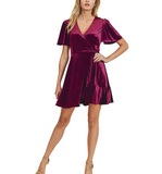 Plum Velvet Wrap Dress - Hudson Square Boutique