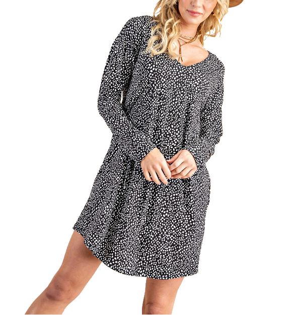 Leopard Black +White L/S Dress