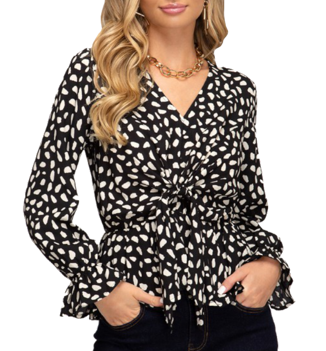 Charlotte Long Sleeve Black & Cream Top