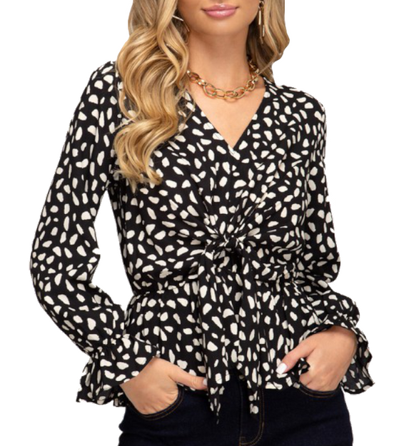 Charlotte Long Sleeve Black & Cream Top - Hudson Square Boutique
