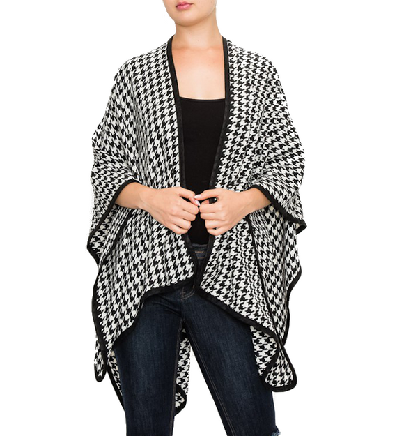Black + White Houndstooth Cape