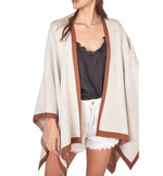 Ivory & Brown Shawl Sweater