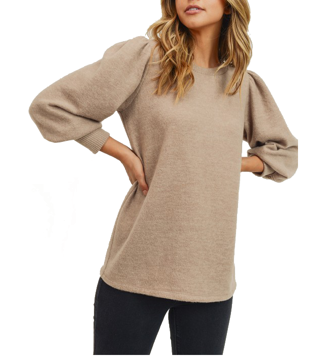 Heather Puff Sleeve Top with Round Neck in Tan
