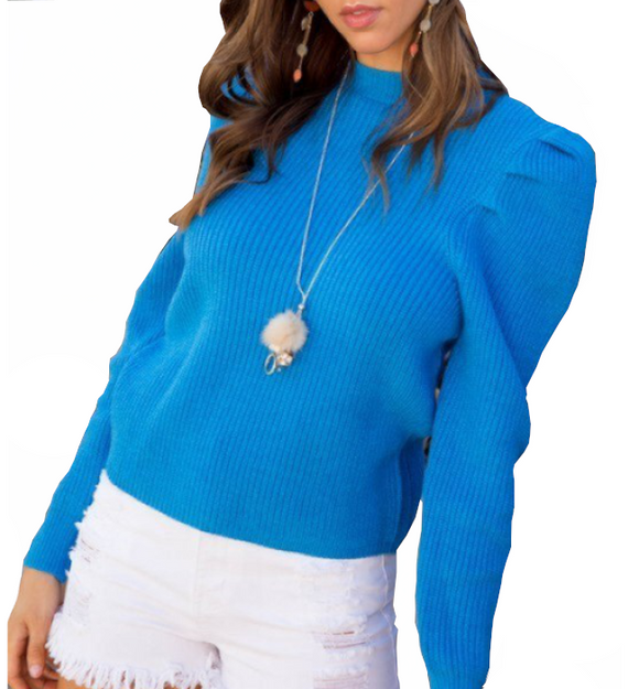 Savannah Mock Neck Puff Sleeve Sweater - Hudson Square Boutique