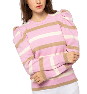 Pink + Brown Puff Shoulder Sweater