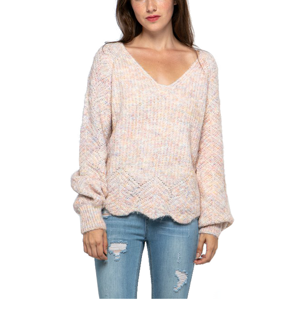 Blush V Neck Balloon Sleeve Sweater