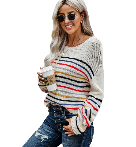 Beige Rainbow Sweater