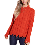 Distressed Cable Knit Hem Sweater