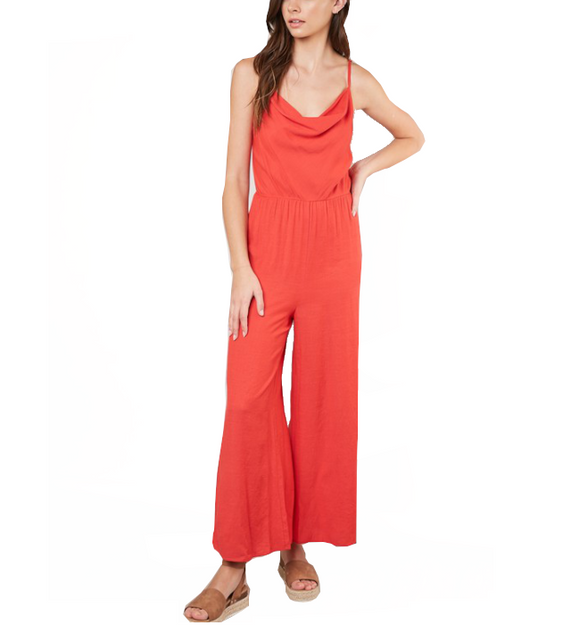 Cherry Red Jumpsuit - Hudson Square Boutique