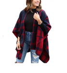 Navy and red plaid shawl with pocket details