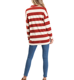 Choker Striped Sweater in Rust
