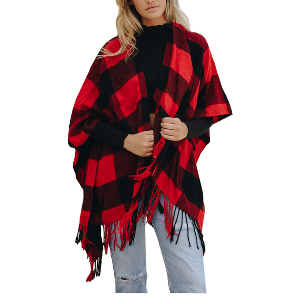 Red & Black Buffalo Check Tassel Poncho