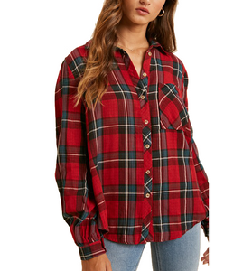 Red Plaid Button Front