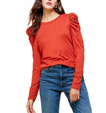 Frilled Detail Sleeve Top - Hudson Square Boutique LLC