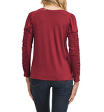 Burgundy Shirring Detail Sleeve Top - Hudson Square Boutique