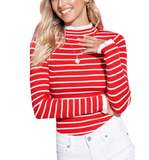 Red + White Ribbed Top - Hudson Square Boutique
