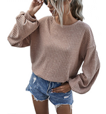 Mocha Ribbed Balloon Sleeve Top - Hudson Square Boutique