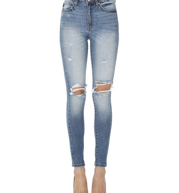KanCan Light Wash Distressed Skinny Jeans - Hudson Square Boutique
