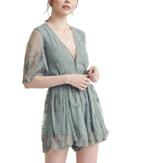 Sage Lace Romper - Hudson Square Boutique