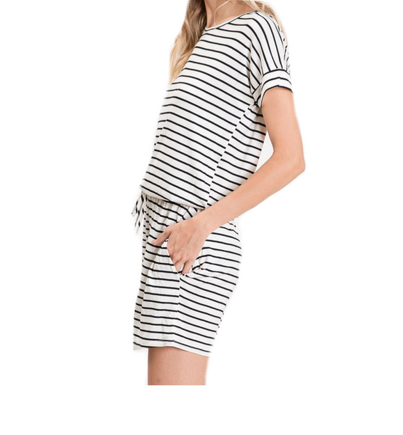 Ivory & Black Striped Romper - Hudson Square Boutique