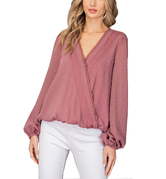 Mauve Pink + Sheer Arms Top - Hudson Square Boutique