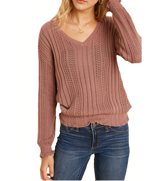 Dusty Mauve Smocked Knit Top