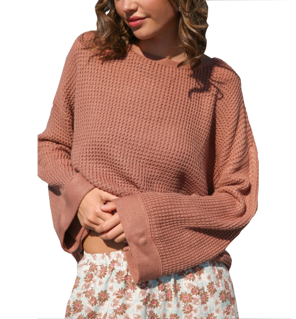 Ash Rose Waffle Pullover - Hudson Square Boutique