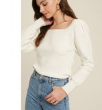 Ivory Ribbed Tie Back Sweater - Hudson Square Boutique LLC