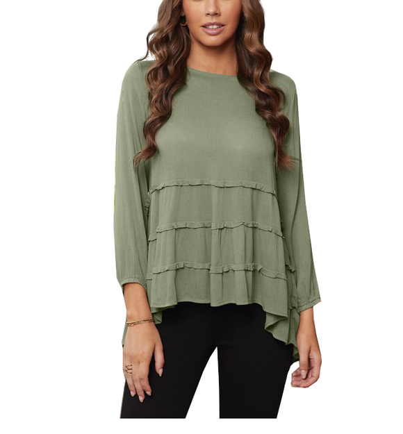 Olive High-Low Ruffle Top