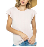 Cream Ribbed Ruffle Sleeve Top - Hudson Square Boutique