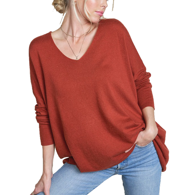 Ultra Soft Slouchy Sweater in Rust