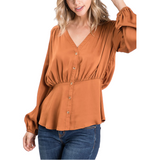 Royal Button Front Blouse - Hudson Square Boutique