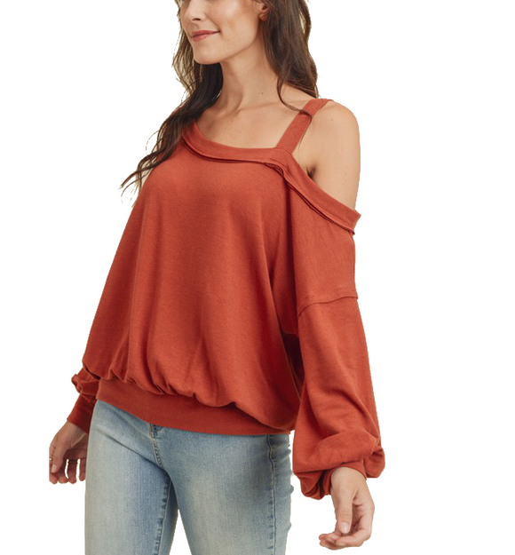 Brick Single Cold Shoulder Top