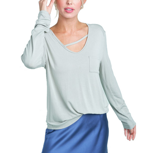 Front Pocket Soft L/S Tee - Hudson Square Boutique LLC
