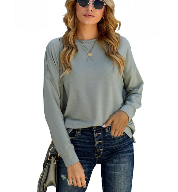 Gray Pullover Sweatshirt - Hudson Square Boutique