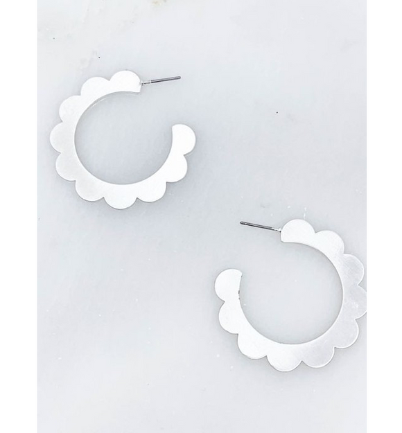 Scallop Hoop Earrings - Hudson Square Boutique
