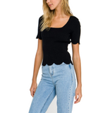 Premium Square Neck Scalloped Top - Hudson Square Boutique