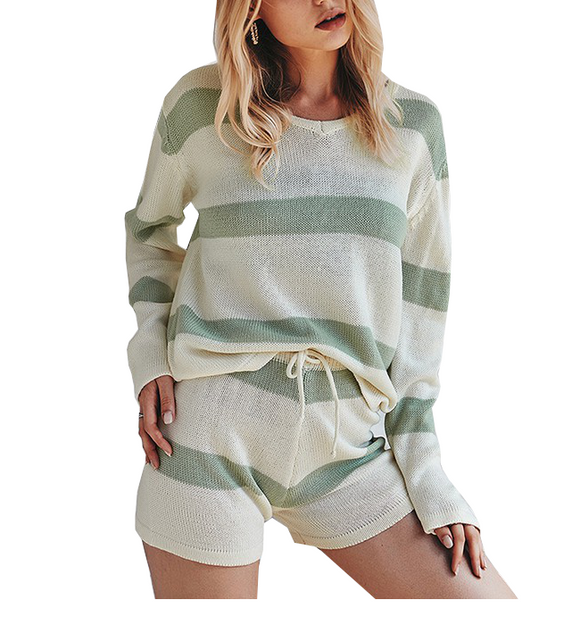 Striped Knit Lounge Set