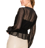Sheer Black Peplum Top