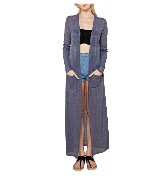 Long Slate Blue Sheer Cardigan