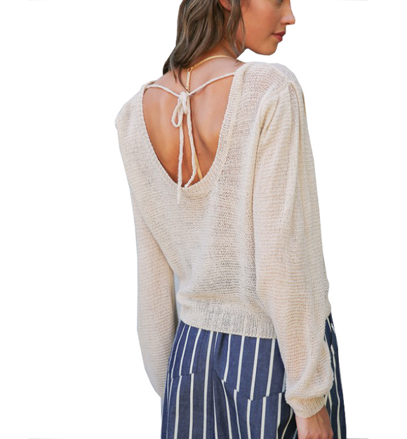 Natural Light Weight Open Back Top - Hudson Square Boutique